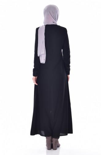 Abaya mit Reißverschluss  0524-01 Schwarz 0524-01