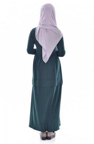 Robe avec Collier 1081-03 Vert emeraude 1081-03