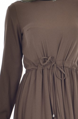 Ruched Laced Dress 60672-07 Khaki 60672-07