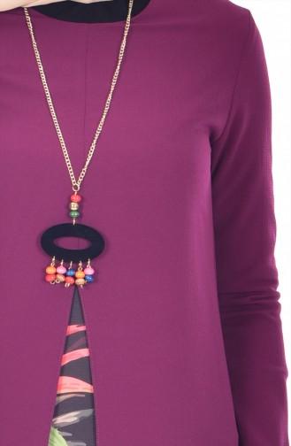 Gemustertes Tunika mit Halskette 5403-05 Zwetschge 5403-05