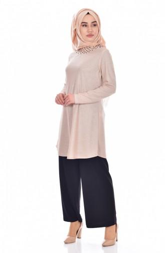İncili Tunik Pantolon İkili Takım 18108-03 Pudra
