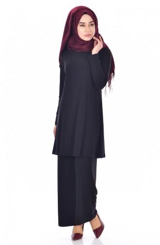 İncili Tunik Pantolon İkili Takım 18105B-05 Siyah