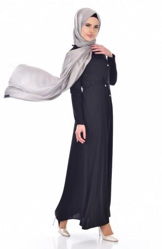 فستان بتصميم سادة مع حزام خصر  1082-01