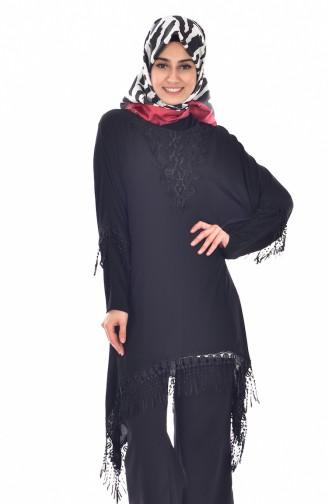 تونيك اسود بتصميم غير متماثل الطول مع تفاصيل من الدانتيل  2010-01