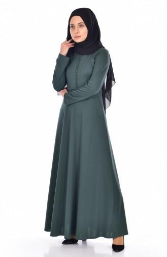 2b852f329776e Sefamerve, Düğme Detaylı İncili Elbise 0010-09 Zümrüt Yeşil