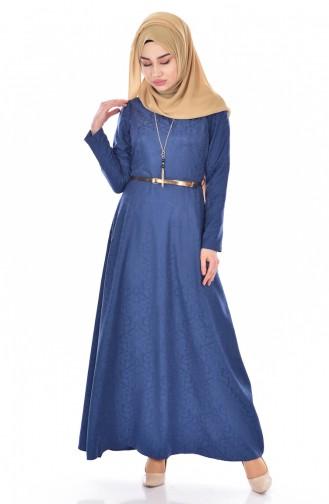 Sefamerve Kemerli Elbise 3951-10 Açık Lacivert