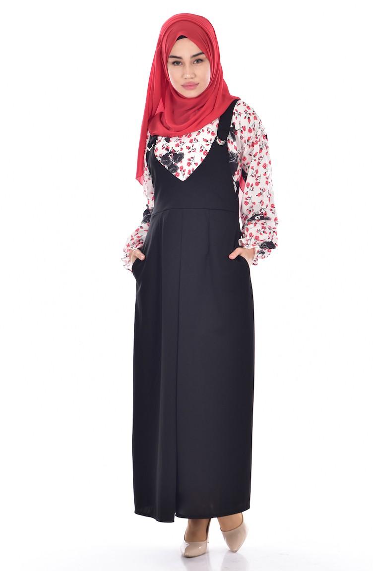 c3a89064f85d4 Gömlek Jile Elbise İkili Takım 1945-01 Siyah
