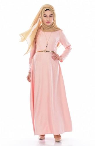 Sefamerve Kemerli Elbise 3951-11 Somon
