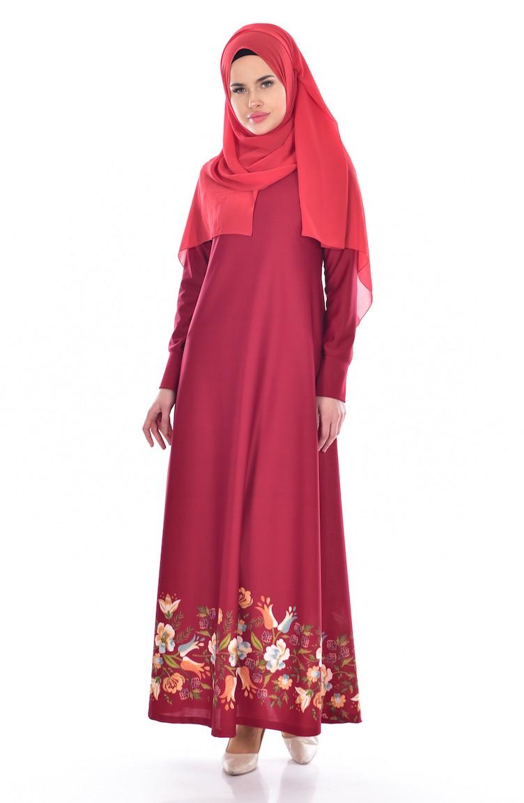 473b68053141c Dijital Baskılı Elbise 5106-02 Bordo