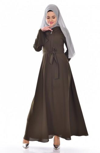 Khaki İslamitische Jurk 18302-04