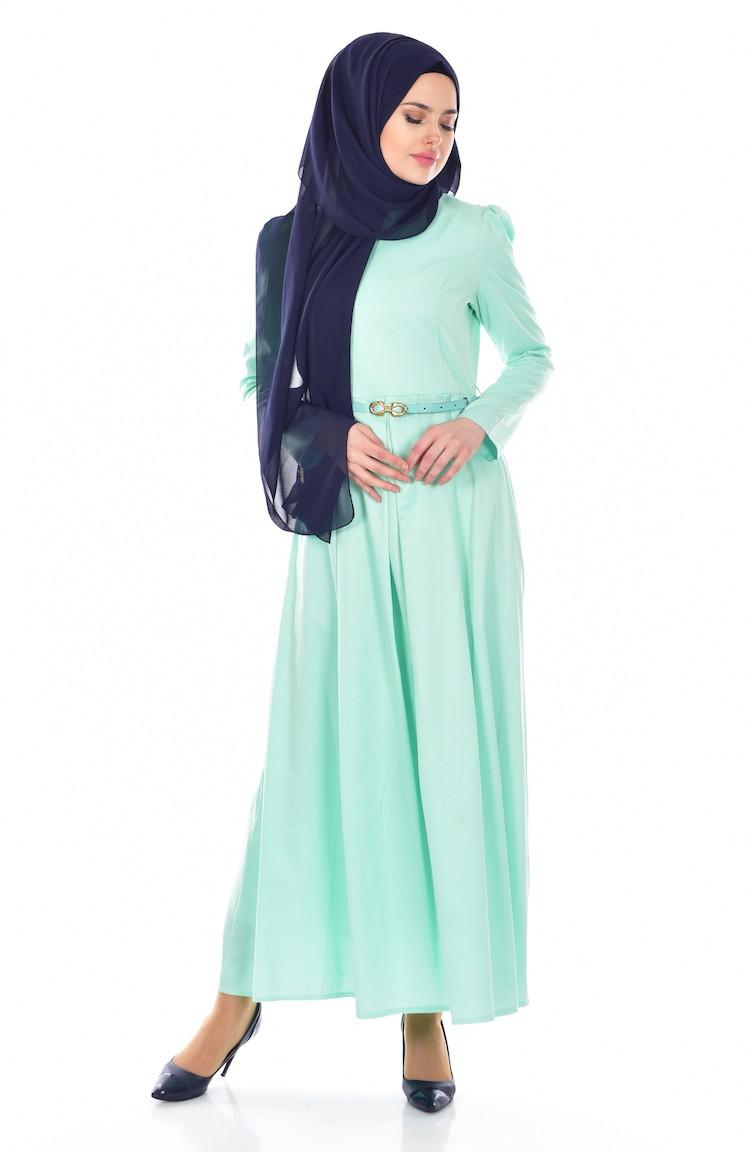 b35995931bdb9 Kemerli Elbise 3020-08 Mint Yeşili
