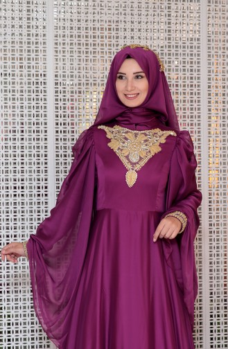 Fuchsia Islamic Clothing Evening Dress 0105-02