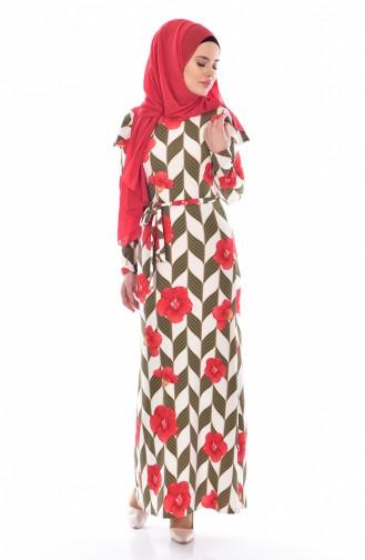 Fırfırlı Elbise 5173-01 Haki 5173-01