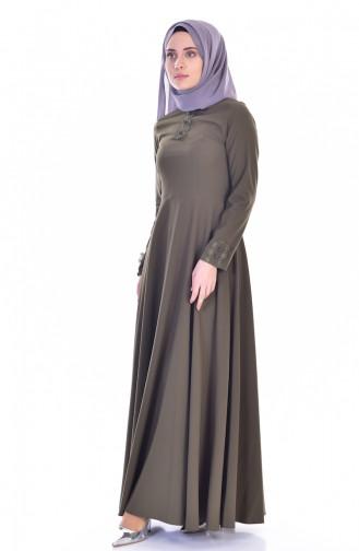 Yakası Dantelli Elbise 8120-01 Haki