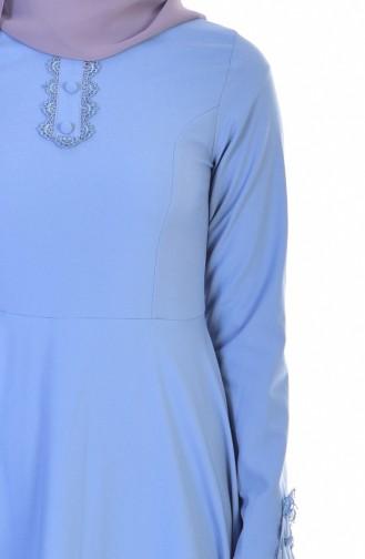 Robe Col Dentelle 8120-03 Bleu Bébé 8120-03