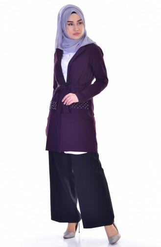 معطف بتصميم مزين بالؤلؤ مع حزام خصر  50336-04