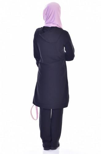 Kapüşonlu Fermuarlı Eşofman Takım 18014-01 Siyah