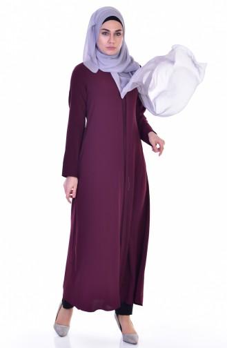 Abaya mit Reißverschluss 3501-02 Weinrot 3501-02