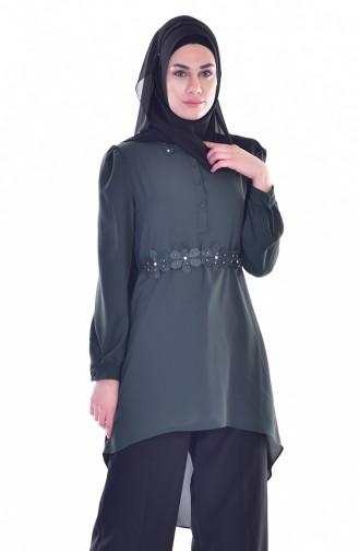 Asymmetrische Tunika mit Gürtel 50163-03 Smaragdgrün 50163-03