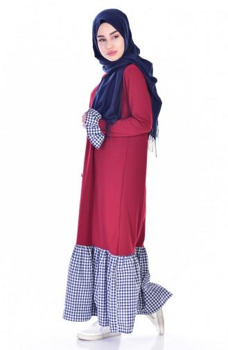 فستان بتصميم سادة مع تفاصيل مربعات  3302-07