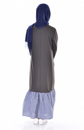 Robe Garnie a Carreaux 3302-02 Khaki 3302-02