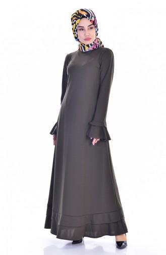 Khaki İslamitische Jurk 3304-03