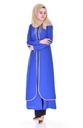 Besticktes Abaya 5101-02 Blau 5101-02