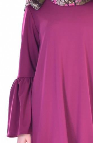 Büzgülü Elbise 3301-02 Mürdüm