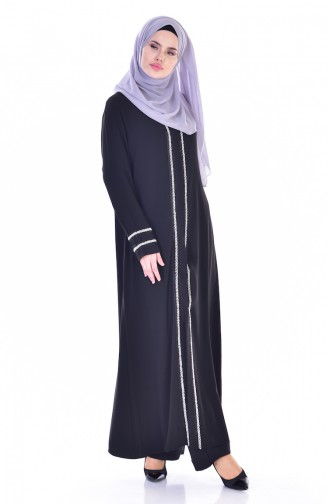 Abaya Bordé de Perles 0002-01 Noir 0002-01