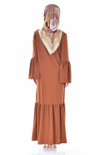 Büzgülü Elbise 3301-01 Taba