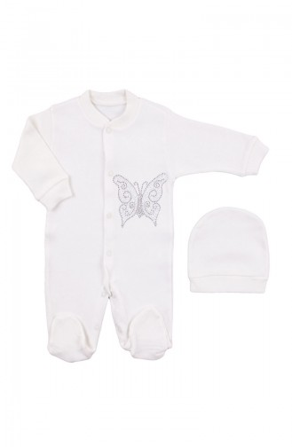 Taşlı Bebek Tulumu CLLM002EKR-01 Ekru