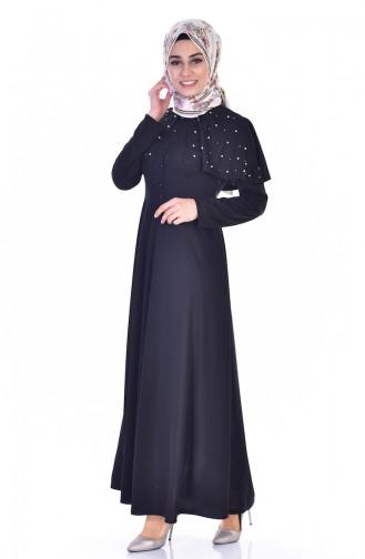 Pelerinli Kuşaklı Elbise 1858-05 Siyah