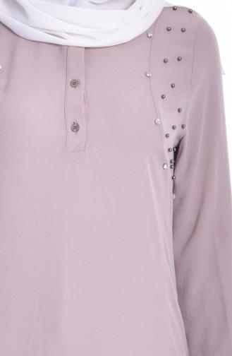 Asymmetrische Tunika mit Perlen 3145-01 Beige 3145-01
