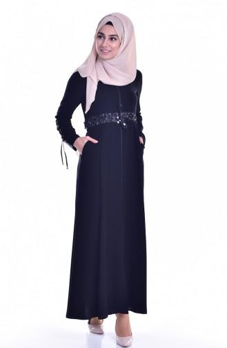 Abaya mit Reißverschluss 24154-02 Schwarz 24154-02