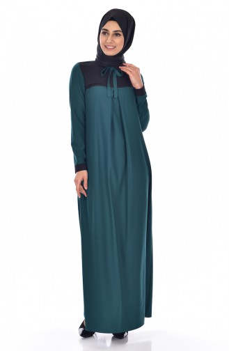 Yakası Fiyonk Detaylı Elbise 3008-14 Zümrüt Yeşil Siyah 3008-14