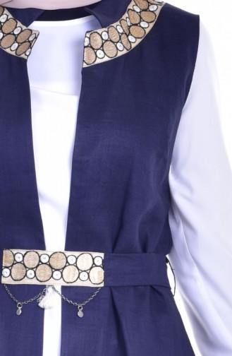 Tunik Yelek İkili Takım 1717937-01 Lacivert Beyaz