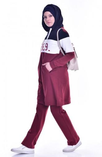 بي وست بدلة رياضية بتصميم موصول بقبعة 8037-06 لون خمري 8037-06