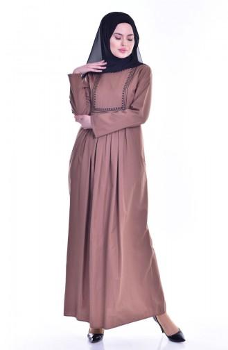 Robe Plissée et Bordée avec Poches 2916-09 Camel 2916-09