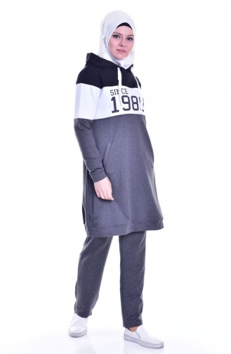 بي وست بدلة رياضية بتصميم موصول بقبعة 8037-07لون أسود مائل للرمادي 8037-07