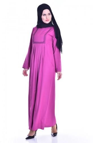 Robe Plissée et Bordée avec Poches 2916-10 Fushia 2916-10