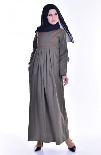 Robe Plissée et Bordée avec Poches 2916-07 Khaki 2916-07