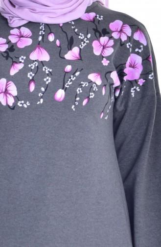 Tunique İmprimée de Fleurs 2908-02 Khaki 2908-02