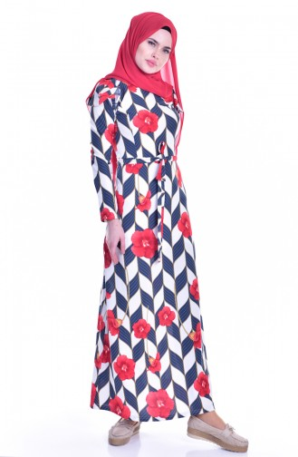 Volanlı Elbise 5179-01 Lacivert