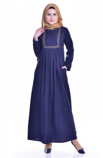 TUBANUR Embroidered Pocket Pleated Dress 2916-03 Navy Blue 2916-03