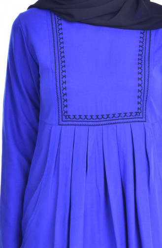 Robe Plissée et Bordée avec Poches 2916-12 Bleu ROi 2916-12