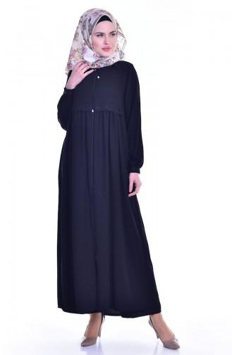 Fermuarlı Nakışlı Ferace 0005-04 Siyah