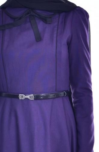 Patchwork Kleid mit Babykragen 7172-07 Lila Schwarz 7172-07