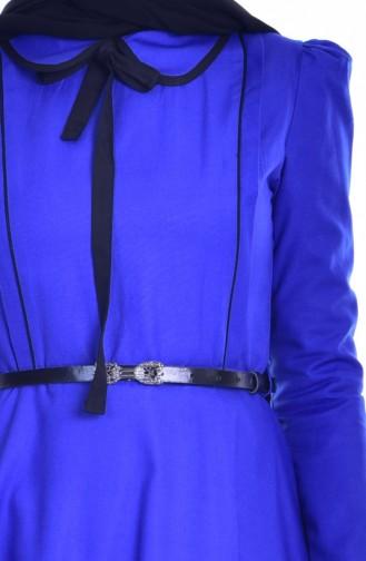 Robe Garnie Col Bébé 7172-02 Bleu Roi Noir 7172-02
