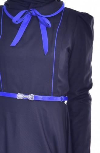Robe Garnie Col Bébé 7172-05 Noir Bleu Roi 7172-05