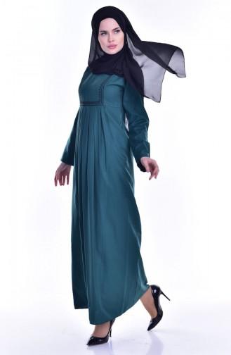 Robe Plissée Bordée avec Poches 2916-04 Vert emeraude 2916-04